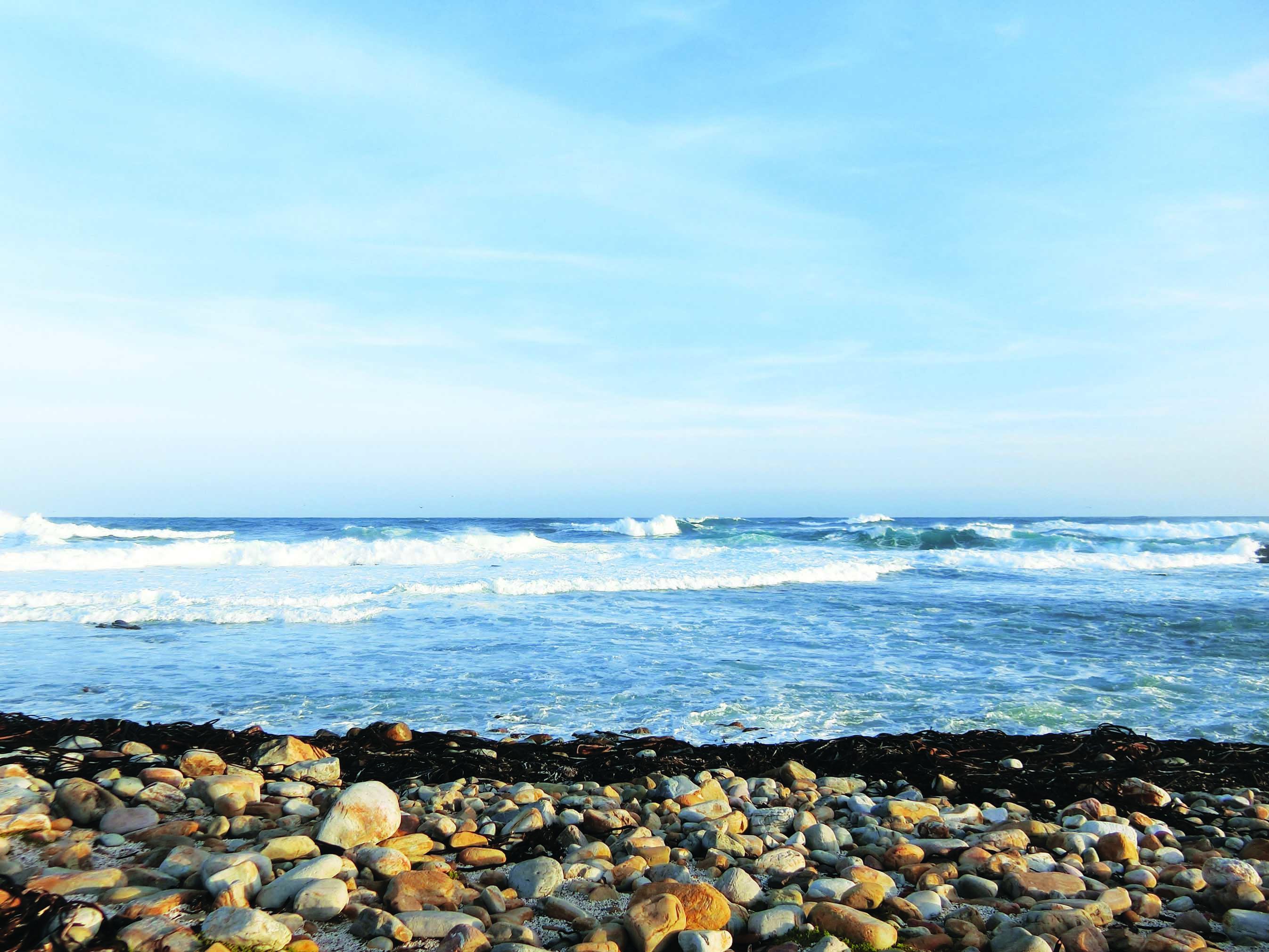 蔚蓝的波涛托着白色的浪花奔涌而来。