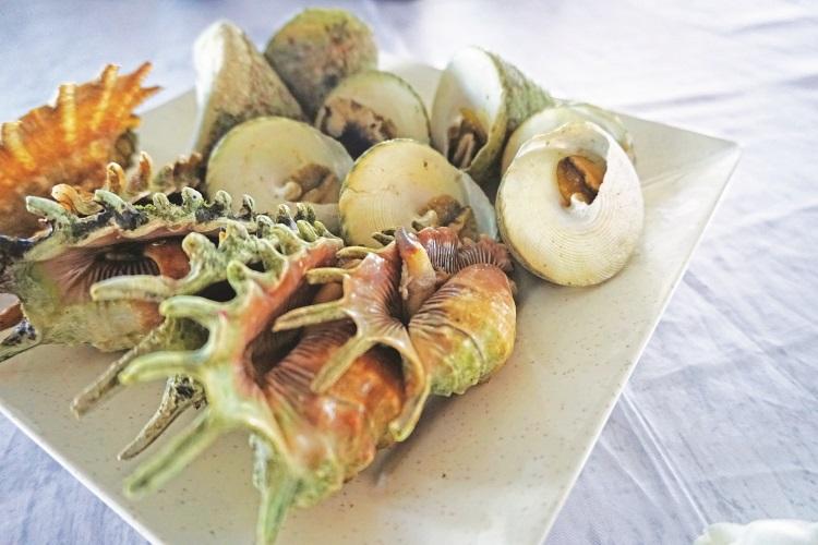 新鲜的海鲜直接从海里打捞起。