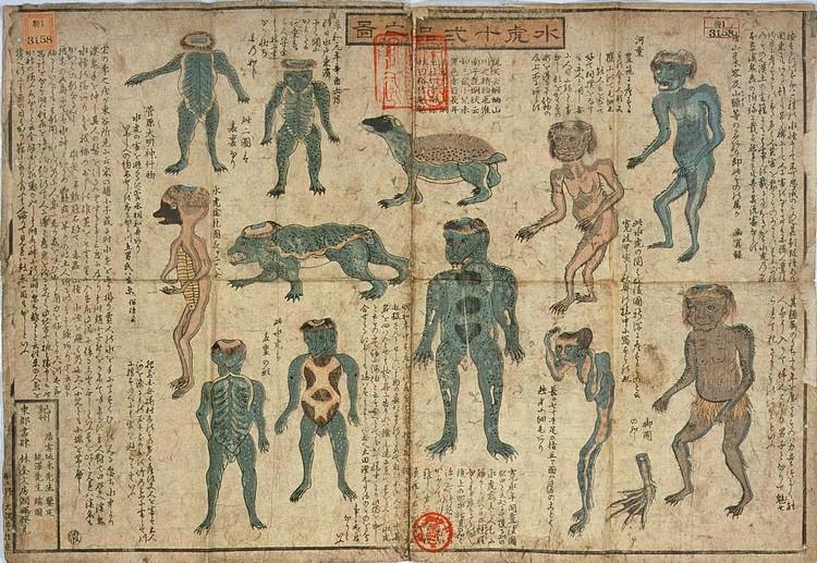 古书记载的河童绘图。据说河童的足迹遍布全日本,且不同地方的河童,都有这外形上的差异。