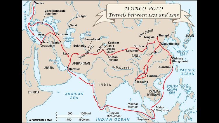 马可波罗曾周游列国的地图路线