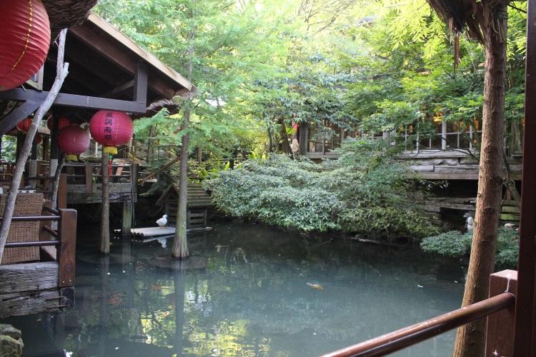 蔬食餐厅旁有座小湖,一边品尝美食,一边欣赏湖里悠游自在地游泳的鱼儿,人间享受。