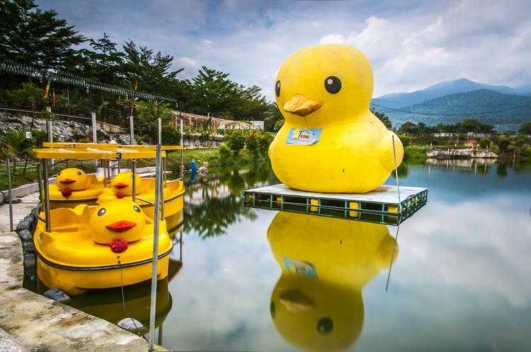 特别订制的可爱大黄鸭伫立湖中。