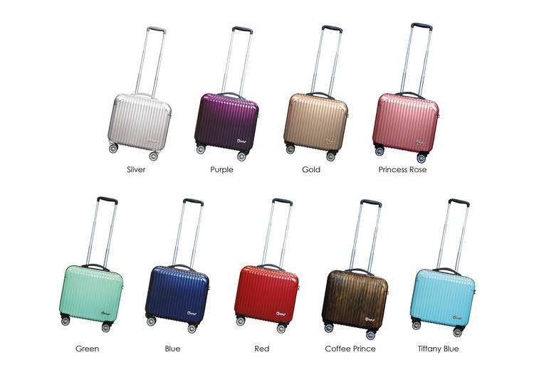 色彩缤纷的蘋果20周年限量纪念款手提行李箱。