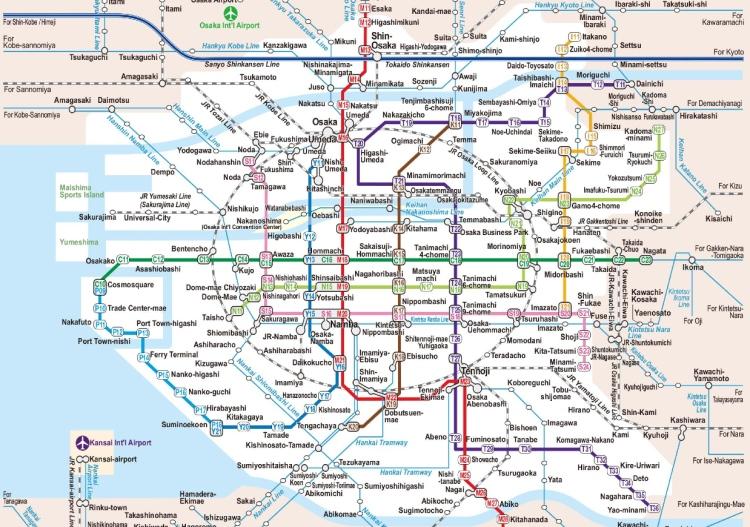 大阪地铁路线图,是不是很迷人?