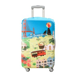 LOQI Urban Collection Luggage Cover   San Francisco