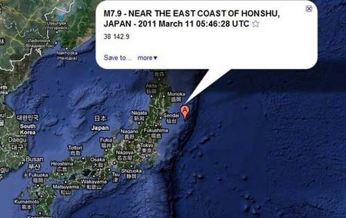 日本东北震源所在。