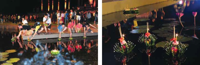 Releasing the krathong on the water