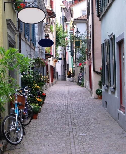 5old cobble stone alley Predigerstrasse in Zurich in Switzer