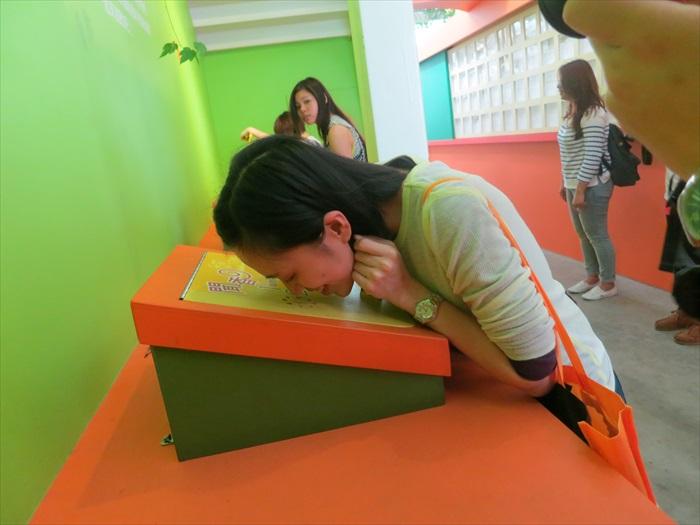 楼梯口有个角落可让你测试自己的嗅觉:参与者可先从板子上的闻味道,再猜这味道来自什么植物。