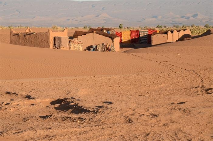 我们第一个沙漠营地,是用撒哈拉的土建盖的柏柏人传统房子,他们用大片的地毯铺盖满房子,连门也是用毯子作的,其功用是御寒。当然,这个沙漠之夜有满天宽阔美丽星斗,可是不是想象中的浪漫,大家躲在厚厚的棉被里,冷得不敢翻身。