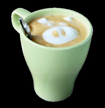 画有小猪拉花的桂奶啡,喝到底会有意外的惊喜。