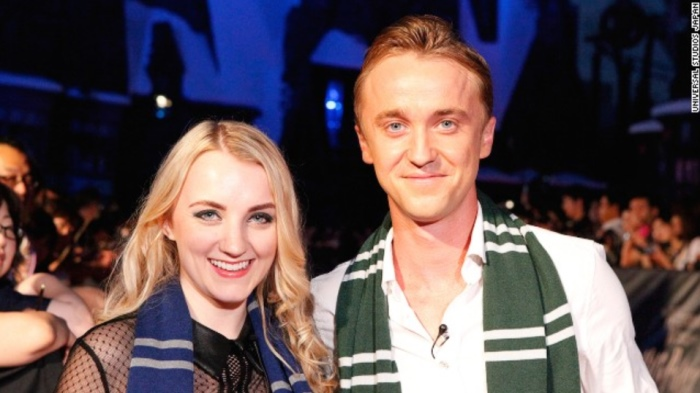 """""""Harry Potter"""" stars Evanna Lynch (Luna Lovegood) and Tom Felton (Draco Malfoy) were on hand for the Wizarding World of Harry Potter opening ceremony in Osaka, Japan on July 15."""