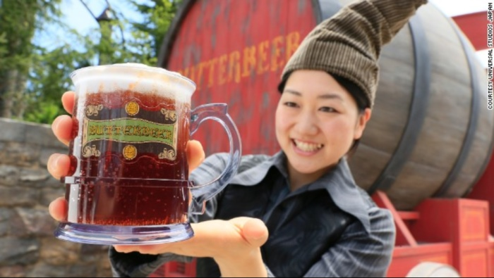 """Sorry folks, there's no alcohol in """"Butterbeer."""" A drink consumed by Hogwarts students, the theme park version tastes more like shortbread and butterscotch than yeast and hops."""