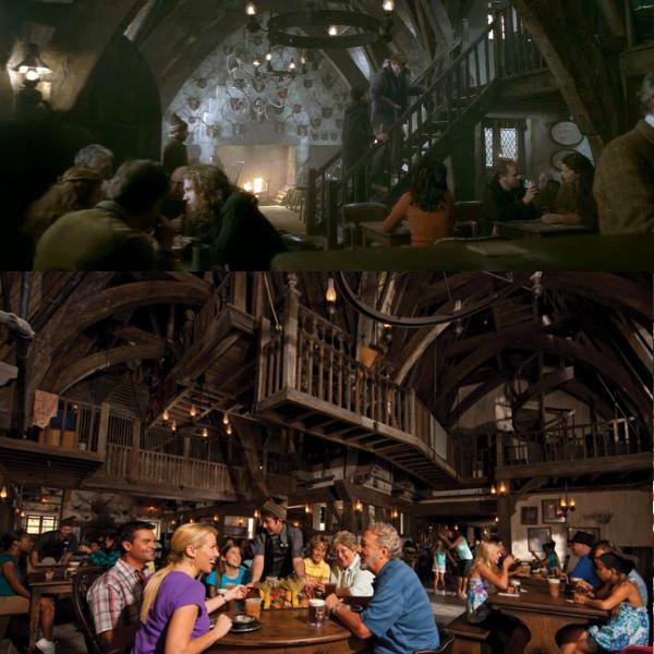 电影的三根扫帚酒吧(上)略显阴暗,公园内的(下)气氛和乐得多。 (摘自互联网和www.universalorlando.com)