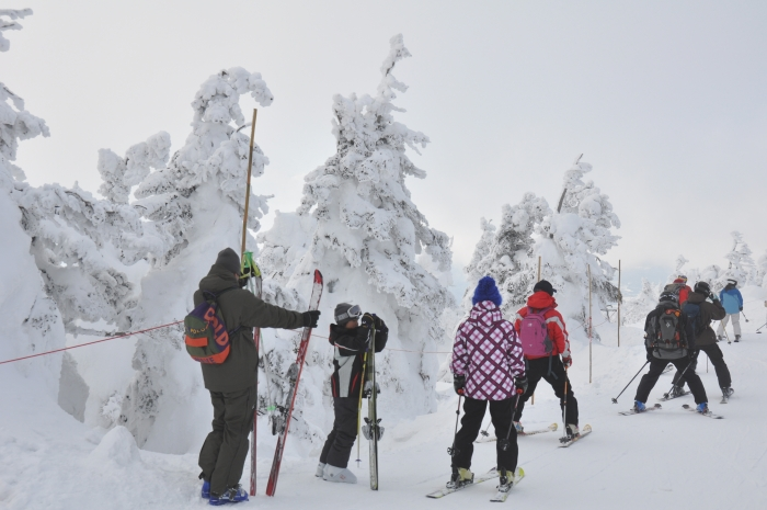 在雪怪间穿梭,藏王山上还能进行雪上活动。