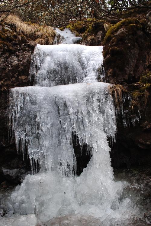 一泻千里的瀑布在冬天的轿子山化成了冰,为空寂的山岳增添冷寂感。