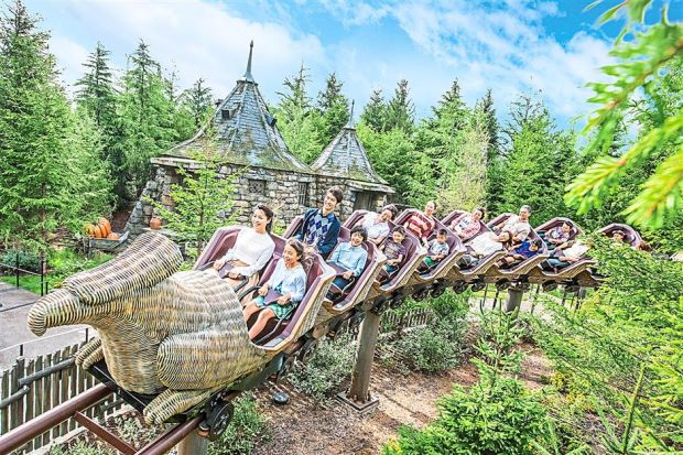 The family-friendly Flight of the Hippogriff roller-coaster.