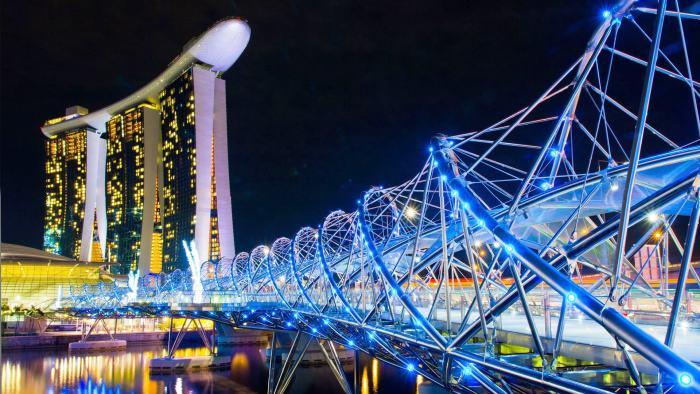 """连接滨海湾及滨海中心的""""螺旋桥""""是工程技术中的一朵奇葩。桥上的观景平台能让你一览狮城全景风光!"""
