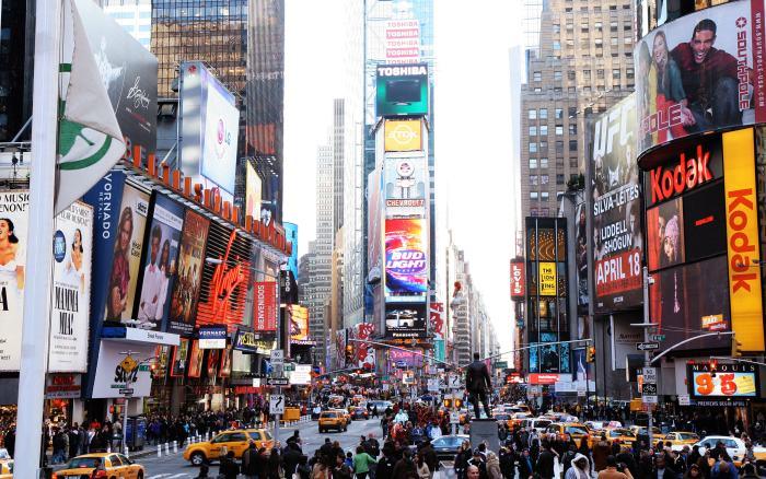 美guo纽约,白天热闹闹的时代广场。