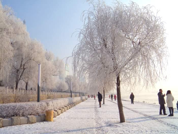 蓝与白的雪景天空相辉映