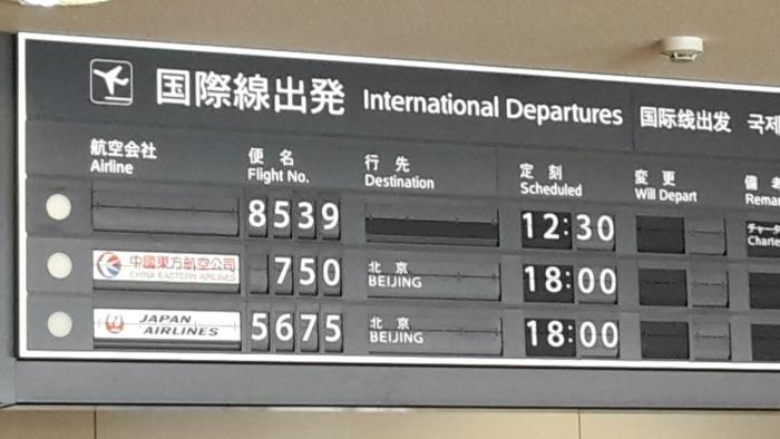 旭川机场,原本在当地时间中午12时30分起飞时间延迟至下午2时,后来雪越下越大,我们在机内用餐、等了8个小时之后,顺利飞向成田。