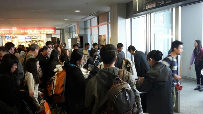 客人从旭川机场登机。