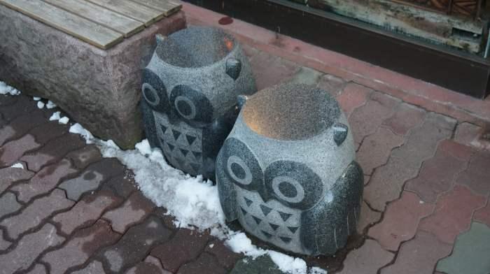 北海道,登别某处的猫头鹰石雕