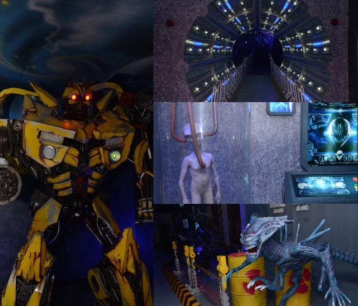 我想变形金刚迷和阿凡达迷会超喜欢这个主题馆,因为走入馆内就会有大黄蜂(Bumble Bee)机械人的踪影。只要你靠近那机械人,它就会举起武器发出射击的声响。
