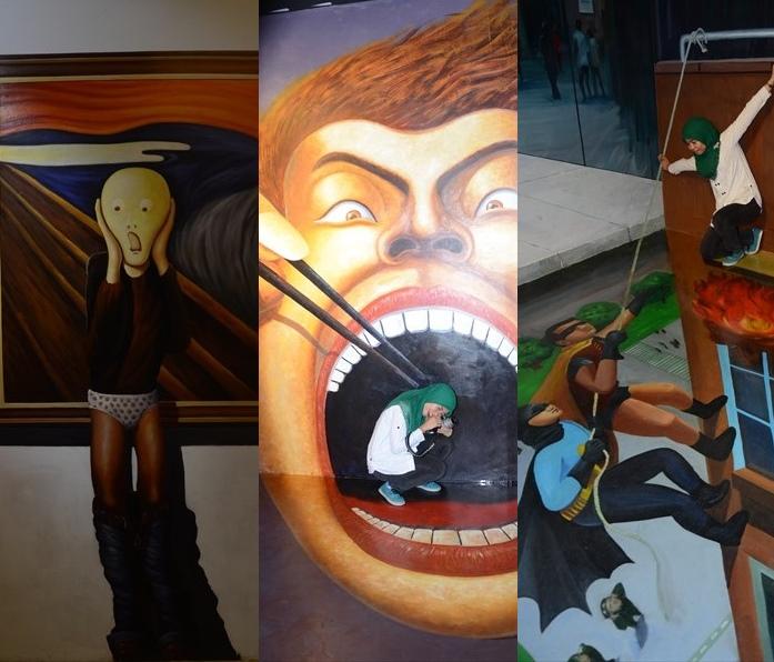 """最经典的是那幅恶搞世界名画""""呐喊""""的壁画,你可以扮演""""脱掉""""呐喊主角裤子的恶棍。(左图)"""